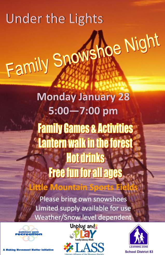 2019 under the lights family snow shoe night